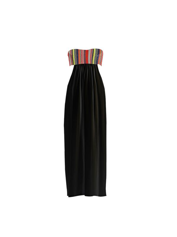 "T1617_FRONT_BLACK-""Open Minded"" Jersey Cotton Voile Dress TIKTO TIKTOATHENS"