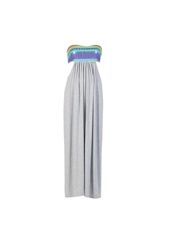 "T1617_FRONT_GREY-""Open Minded"" Jersey Cotton Voile Dress TIKTO TIKTOATHENS"