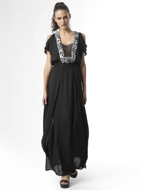 T1701 BLACK FALL IN LOVE LONG DRESS TIKTO TIKTOATHENS