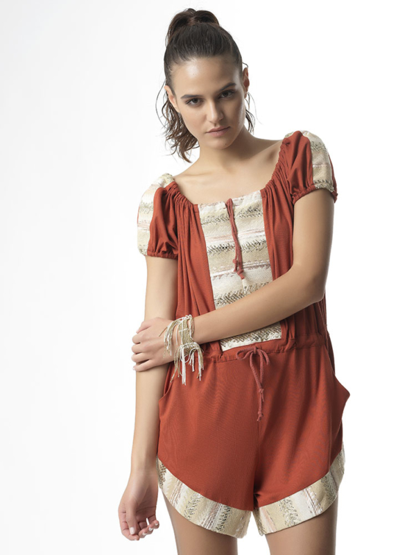 """T1719 TERRACOTTA Jersey Playsuit """"Over Love"""" by Tikto Athens one size loose fit"""