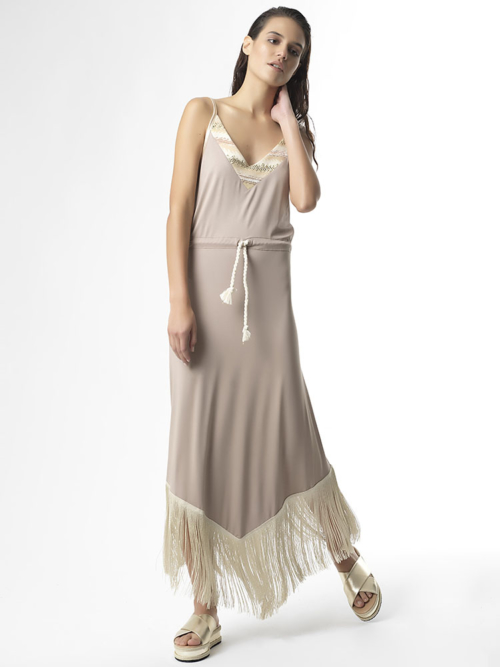"""T1721 BEIGE """"STAND OUT"""" Jersey Fringe Dress by Tikto Athens regular fit"""