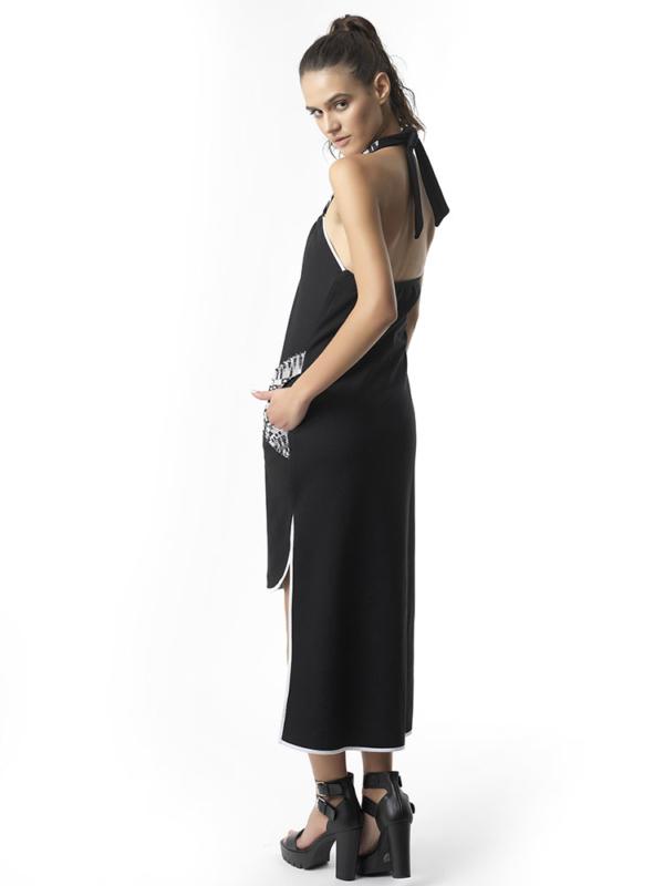 T1725 BACK BLACK DREAM BIG JERSEY ASYMMETRIC DRESS TIKTO TIKTOATHENS