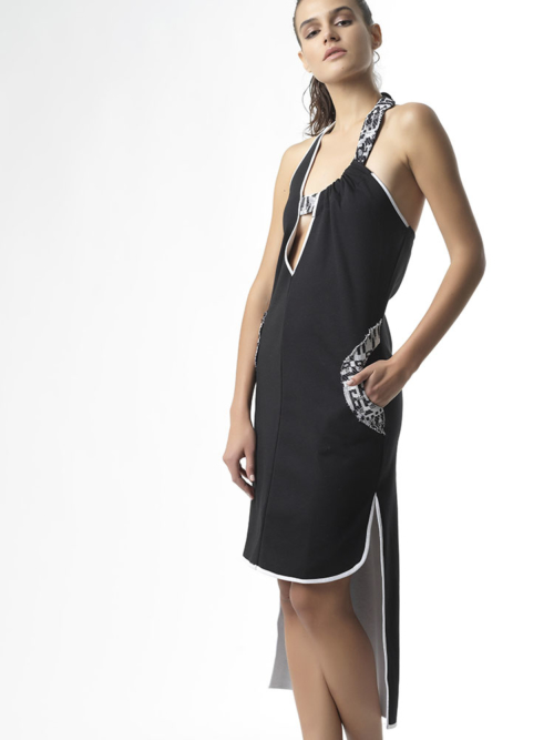T1725 SIDE BLACK DREAM BIG JERSEY ASYMMETRIC DRESS TIKTO TIKTOATHENS