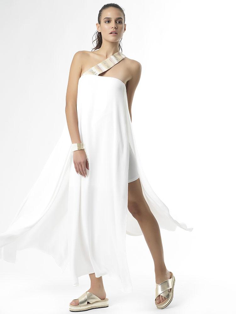"""SHOW UP"" Long Dress regular fit lightweight fabric by Tikto Athens TIKTO TIKTOATHENS"